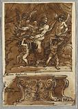"Pope Gregorio VII and Four Angels, Study after Raphael ""Persons of the Papacy"". Antique Bench."