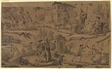"Cartoon for cotton printing: Scenes from Moliere's ""Le Medecin Malgre Lui"""