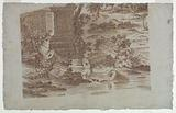 """Trial Proof for Cotton Printing: """"Pastoral Scene with Peacocks and Poultry"""""""