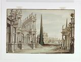 Stage Design, Fantasy of Rome with the Castel Sant 'Angelo, the Ponte Elio and the Centaurs Aristens and Pappias