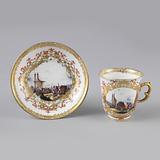 Chocolate or Coffee Cup and Saucer with Harbor Scenes