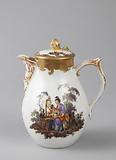 Covered Milk Jug with Chinoiserie Vignettes