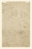 Standing woman holding a Muff, Turned Slightly to the Right (recto); Studies of Heads (verso)