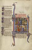 Initial N: A Man Emptying a Money Purse into a woman's Mantle and A woman with three Children before a Judge