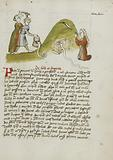 A woman in prayer and a snake on a Nearby Hillock; A Man Trying to Kill a snake with an Axe