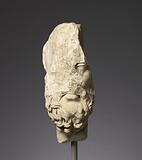 Fragmentary head of Epikouros Worked for Insertion in a Bust