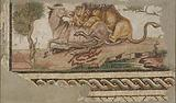 Mosaic of a Lion Attacking an Onager