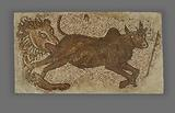 Mosaic of a Lion Chasing a Bull