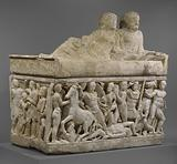 Sarcophagus with lid and 4 unjoined fragments