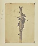 Cutting telegraph wire and connecting the ends, so that the point at which the connection is broken cannot be seen …