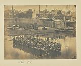 Large Raft of Blanket Boats Ferrying Infantry Across the Potomac River