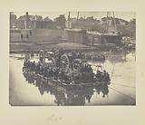 Raft of blanket boats ferrying field artillery and men over Potomac River