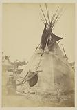 Little Big Mouth and Teepee, near Fort Sill. Possibly a Cheyenne Camp.