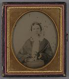 Portrait of a seated woman in Bonnet holding Her Purse