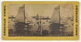 New York City [Sailing ship in harbor, people on dock]