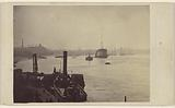 Harbor with ships at Greenwich, England