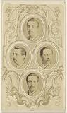 Four separate oval-cut portraits of unidentified men with moustaches