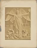 Sculpture of winged figure with children