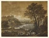 A Landscape with Shepherds Resting Under a Tree by a Cascade (recto); Sketch of a Landscape (verso)