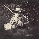 Seated Boy with a Bag and Stick over his Shoulder