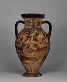 Neck amphora with (A) erotic scene and (B) man and woman between sphinxes