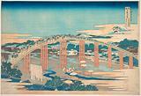 Yahagi Bridge at Okazaki on the Tōkaidō, from the series Remarkable Views of Bridges in Various Provinces (Shokoku …)