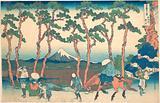 Hodogaya on the Tōkaidō (Tōkaidō Hodogaya), from the series Thirty-six Views of Mount Fuji (Fugaku sanjūrokkei)