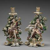 Venus and Cupid candlestick (one of a pair)