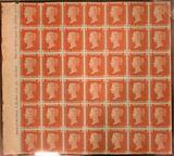 """Unused block of forty-two """"Penny Red-Brown"""" postage stamps of Queen Victoria"""