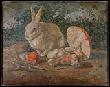 Tile mosaic with rabbit, lizard and mushroom
