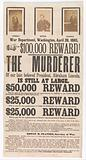 Broadside for the Capture of John Wilkes Booth, John Surratt, and David Herold