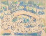 Bathers Under a Bridge (recto). Study after Houdon's Ecorché (verso).