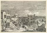 Imaginary View of Venice, houses at left with figures on terraces, a domed church at center in the background, boats …