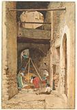 Italian Courtyard and Figures