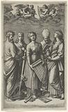 St Cecilia holding an organ, flanked by St Paul, St John the Evangelist, St Augustine and Mary Magdalen, musical …