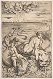 Venus and Cupid riding two sea creatures, Cupid raising an arrow with his right hand and two heads representing wind …