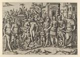 The triumph of a Roman Emperor. A young naked hero stands at center on a pile of armor.