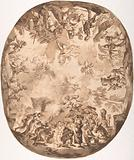 Design for an Oval Ceiling with Four New Testament Scenes