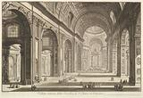 Interior view of St Peter's Basilica in the Vatican, from Vedute di Roma (Roman Views)