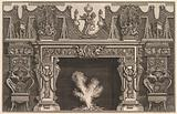 Bird in shell at the center of the lintel, with a frieze of trophies, surmounted by an overmantel with candelabra and …