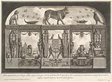 Egyptian decoration of the Caffè degli Inglesi: Animals on the cornice, including a bull at the center, from Diverse …