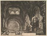 The so-called Villa of Maecenas at Tivoli. Interior with two figures in the opening of an arch above.