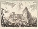 The Pyramid of Caius Cestius, with the Porta S Paolo and adjoining road (Veduta del Sepolcro di Cajo Cestio)