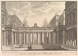 View of a courtyard with a loggia, fountains, statues, and other ornaments (Prospetto d'un regio Cortile nel cui mezzo …)