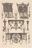 Miscellaneous furniture including two sedan chairs, a side table and a commode, from Diverse Maniere d'adornare i …
