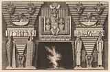Chimneypiece in the Egyptian style: Two mummies in profile on the left and two figures brearing obelisks on the right, …