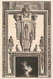 Chimneypiece in the Egyptian style: Mummy superimposed on a large caryatid above the lintel, from Diverse Maniere …