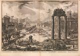 View of the Campo Vaccino [Roman Forum with the Temple of Castor and Pollux to right], from Vedute di Roma (Roman Views)