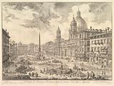 The Piazza Navona, Rome, above the ruins of the Circus of Domitian, the Church of Sant' Agnese to the right, Bernini's …
