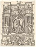 Bust portrait of Pope Pius V in profile facing left set within an elaborate architectural structure upon which sit …